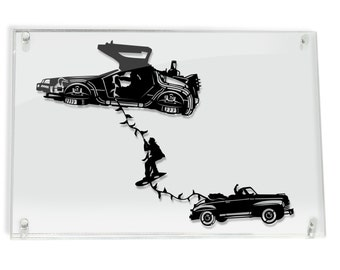 DeLorean Marty Escape - Back to the Future silhouette hand cut paper craft // handmade framed wall artwork geek art