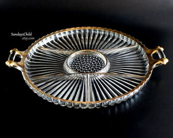 Jeannette Glass Relish Tray - Vintage National Pattern - Six Section - Gold Trimmed - Handled