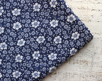 Vintage cotton fabric white navy blue floral 3.43 yards in 1 listing