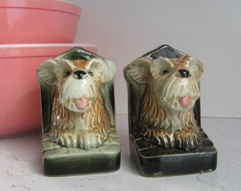 Vintage Terrier Ceramic Bookends, Occupied Japan, Vintage Office