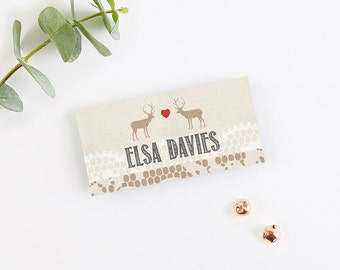 Lace Stag Folded Wedding Place Cards