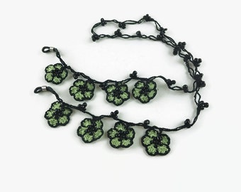 Eye Glasses Chain, Green Flower Crochet Beaded Eye Glass Necklace, Turkish Oya Crochet, Gift for Grandma