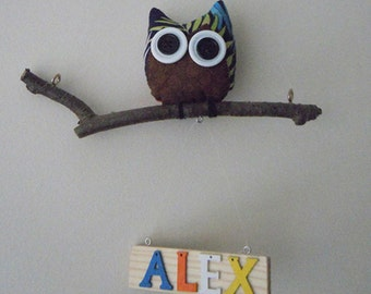 Owl Hanging Mobile with Wood Name, Owl on NatIural Manzanita Tree branch with wood Name, Wall Art.Kids Wood Name, Mixed Color Letters
