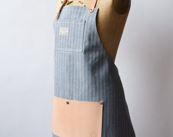 Indigo Herringbone & Leather Apron - Made in U.S.A.