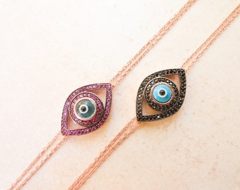 Evil eye bracelet, sterling silver bracelet, turkish evil eye silver bracelet, rose evil eye bracelet, turkish lucky eye bracelet