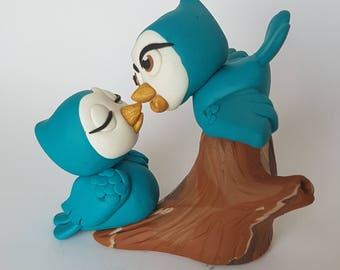 Love Birds Wedding Cake Topper, Blue Bird Cake Topper, Custom Wedding Keepsake, Custom Wedding Cake Topper, Vintage Style Cake Topper