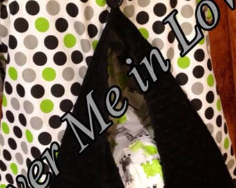 White Lime green black polkadot Baby blanket with black minky dot
