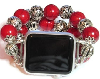 Red Apple Watch Band - Interchangeable Apple Watch Band - BeadsnTime - Valentine Apple Watch Band - Red Apple Band for 38 mm or 42 mm