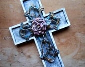 Holding for Sara Do Not Purchase CROSS SHABBY CHIC hand painted crackled pink rose cross religious christian wall decor art