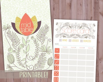 Spring Bunco Card Set, Printable Matching Bunco Card Set, Floral Bunco Cards, Spring Theme Party Game Set