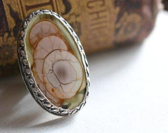 Fairy Tales Ring - Royal Imperial Jasper Sterling Silver Statement Ring - Size 8 1/2 US