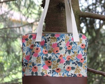 Rifle Paper fabric leather bottom tote