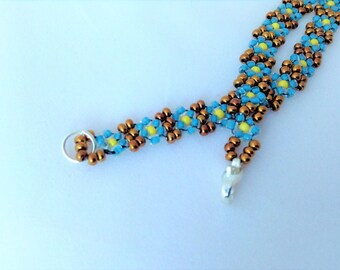 blue and bronze seed bead daisy chain beaded bracelet 7""