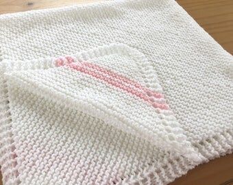 Hand Knitted Diagonal Baby Blanket - White / Pink