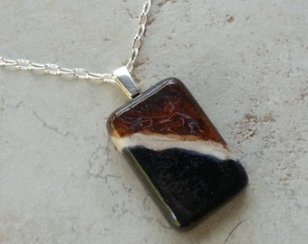 Memorial Cabochon with Bail - Pendant or Necklace - Custom Keepsake Stoneware Pottery Pet Cremains Charm - Choose Color - Rectangle