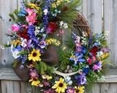 MADE TO ORDER - Colorado Columbine Wilderness Wildflower Landscape Wreath, Mountain Summer Floral, Everyday Wreath, Larkspur, Juniper Cedar
