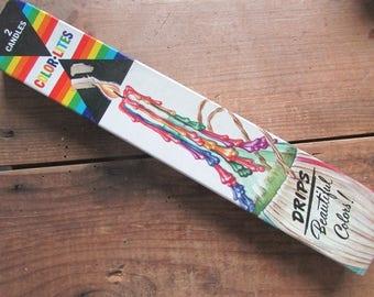 Taper Candles Color Lites Rainbow Drip Candles Vintage Retro Mid Century