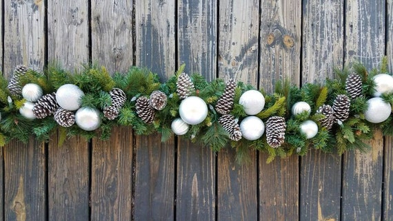 Garland, Holiday Garland, Christmas Garland, Mantel Garland, Fireplace Garland, 6 Foot Pine Garland With Pine Cones and Silver Ornaments