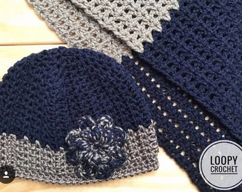Women's Crochet Winter Hat with Flower and Scarf
