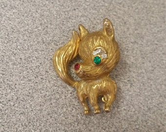 Vintage  Brooch - Dog with Rhinestones