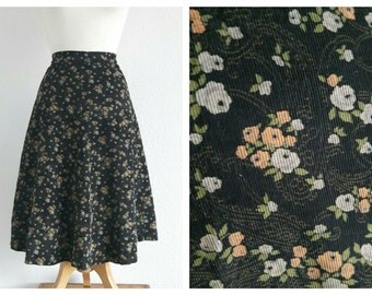 Vintage 60s Floral Corduroy Skirt - 1960s Floral Circle Skirt - A Line Skirt - Autumn Winter - X Small