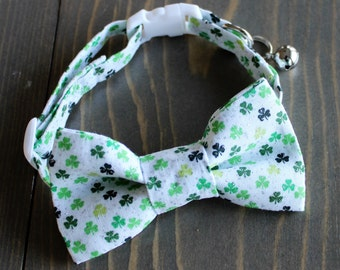 Shamrock Lightweight Fabric Cat Collar with Matching Removable Bow Tie, Breakaway Clasp, Safety Buckle, Adjustable, Bell, St. Patrick's Day