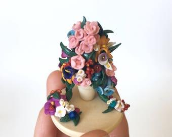 Romantic Floral Bouquet Glass Cloche