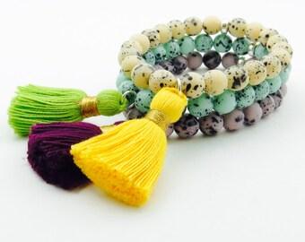 Tassel Bracelet 3-piece Beaded Stretch Bracelet Set