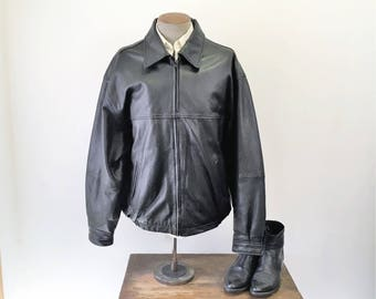1980s Black Leather Car Coat Vintage 80s Mens Soft Genuine Leather Jacket with Quilted Lining by OUTBROOK - Size XL