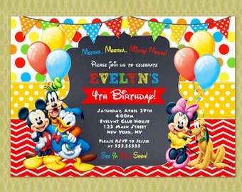 Mickey Mouse Clubhouse Invitation Birthday - Mickey Mouse Birthday Invitations - Mickey Mouse Invitations