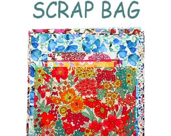 "Liberty Fabric 6"" x 5"" + 3"" x 3"" Scrap Bag Bundle Patchwork Quilting Floral Mixed Squares Rectangles Oblongs Liberty of London Tana Lawn"
