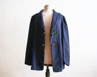 Vintage 1960s Marine Blue Royal Wool Sailor Jacket