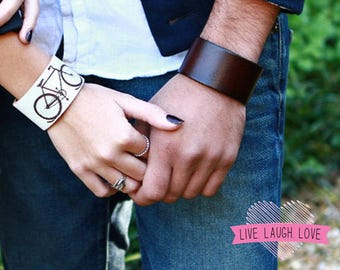 Leather Cuff Bracelet. Plain Wide Leather Band Bracelet. Black, Brown, Tan, Red, Blue, Green, White, Teal, Green. Fuchsia Snaps. B050-PL