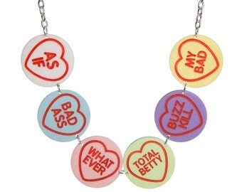Clueless Love Hearts necklace - laser cut acrylic