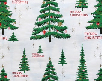 Vintage Kaycrest CHRISTMAS Gift Wrap - Wrapping Paper - TREES and STARBURSTS - with coordinating gift tag - 1960s