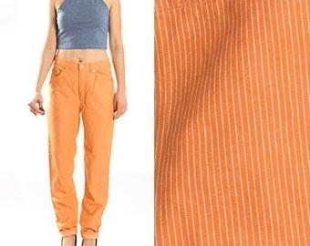 Vintage Benetton Orange Striped Stripes White Jeans Pants Denim Trousers Cotton Mom Jeans 1990 90s SIze Small EU 38 US 10 UK 12
