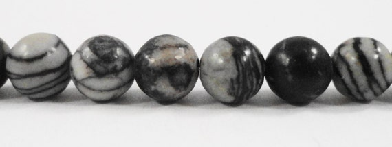 "Silk Stone Beads 6mm Round Spiderweb Jasper Beads, Striped Black and White Stone Beads, Gemstone Beads on a 7 1/4"" Strand with 24 Beads"