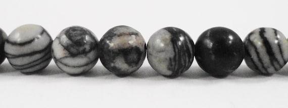 "Silk Stone Beads 6mm Round Spiderweb Jasper Beads, Striped Black and White Stone Beads, Gemstone Beads on a 7 1/4"" Strand with 31 Beads"