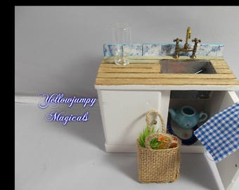 1/12th dollhouse miniature Kitchen Sink One part of a beautifully blue Kitchen Set