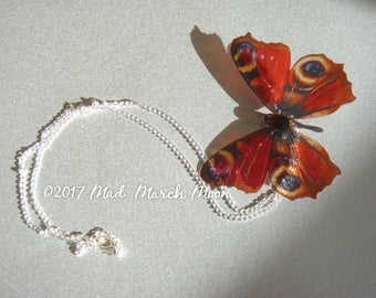 Peacock Butterfly Necklace, rich transpaent colour with organza tied ribbon or silver plated chain
