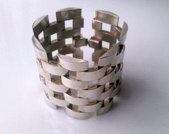 Vintage Modernist Panther Link Bracelet, Silver-tone, Art Deco Bracelet