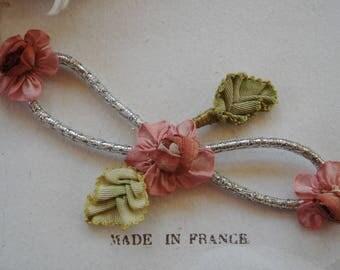 Antique Early French Dusty Rose Pink Mauve Silk Ribbon Work Flower Metallic Cord Applique Edwardian Flapper Hat Dress Trim Doll Boudoir