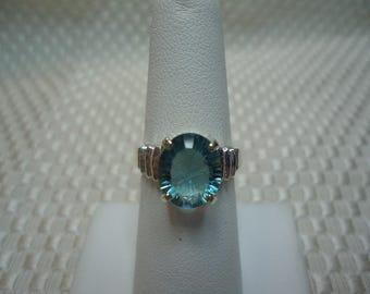 Oval Concave Cut Green Blue Fluorite Ring in Sterling Silver   #1952