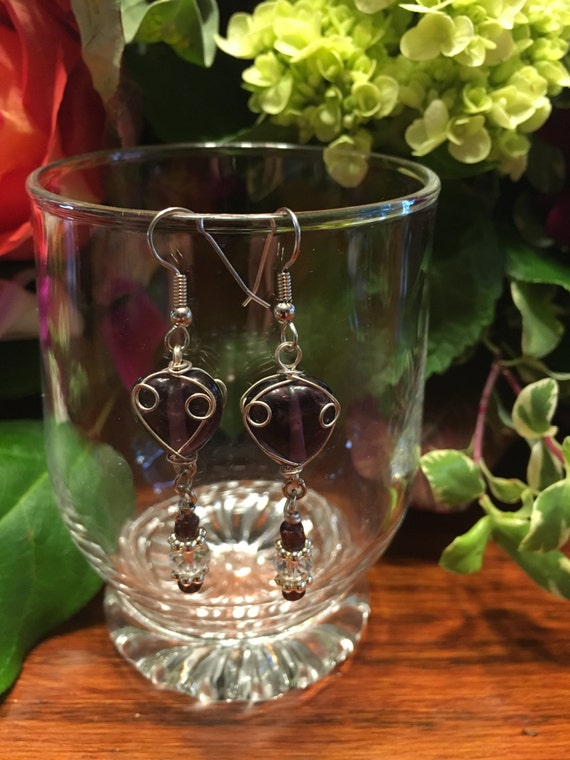Wire work purple glass beads earrings