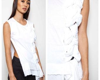 S.U.P.E.R S.A.L.E WAS 340 now 200 edgy vintage COMME Des GARCONS white plait detail open side top tee tshirt