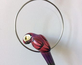 SALE! hand painted ceramic parrot bird with perch ring wall hanging