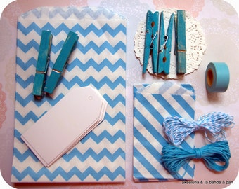 Gift wrapping, anniversary Kit, scrapbooking (blue)