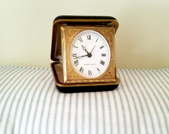 Travel Alarm Clock - Vintage Westclox Germany Alarm Clock - Glow in the Dark Windup Personal Travel Clock - Black Leather Folding Clock Case