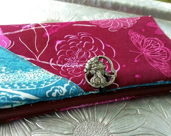 Women's Wallet, Burgundy and Turquoise Wallet, Butterfly Clutch