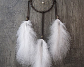 Dream Catcher Chocolate Brown Deerskin with Marabou Feathers